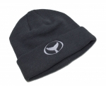 Cuff Knit Beanie with Embroidered Whale Tail Logo Grey