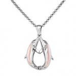 Wyland Kissing Dolphin Necklace w/ Mother of Pearl in Sterling Silver