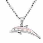 Wyland Dolphin Necklace w/ Mother of Pearl in Sterling Silver
