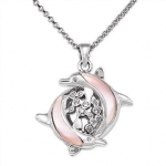 Wyland Dolphin and Bubbles Necklace w/ Mother of Pearl in Sterling Silver