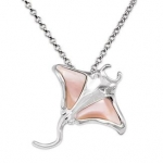 Wyland Manta Ray Necklace w/ Mother of Pearl in Sterling Silver