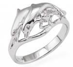 Wyland 2 Dolphin Ring in Sterling Silver - Size 7