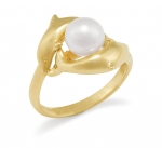 14K White Pearl Dolphin Ring