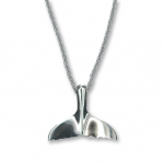 "Sterling Silver Small Whale Tail Pendant Charm w/18"" SS Chain"
