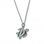 "Sterling Silver Sea Turtle Pendant Charm w/18"" SS Chain"