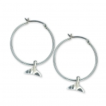 Sterling Silver Mini Whale Tail Charm Hoop Earrings