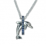 Wyland Sterling Silver Leaping Dolphin Necklace with Blue Sapphires