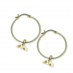 14K Gold Mini Whale Tail Charm Hoop Earrings